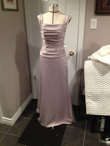 Taupe Satin 2pc. Gown
