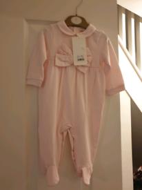 Brand new pink mintini babygrow 6m
