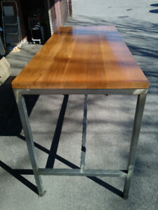Maple top table and marble patio table