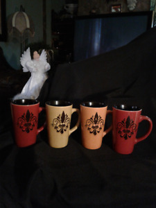 4 Pc SET TARA REED Fleur de Lis 16 oz Latte Mug*AD'S UP,AVAIL