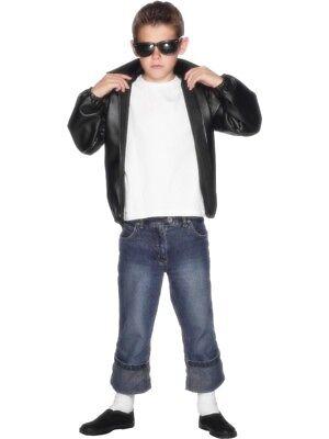 Grease T Bird Jacke Kinder schwarz mit Logo Aufdruck - T Bird Kostüm Mit Jacke