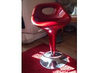 2 red kitchen stools