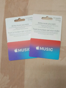 2  Apple Music gift cards