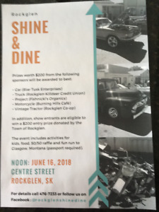 Rockglen Shine & Dine June 16th, with Fun Run after show!