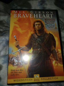 DVD movies excellent condition including braveheart 3$ each