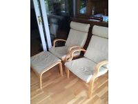 2 IKEA poang chairs with footstall