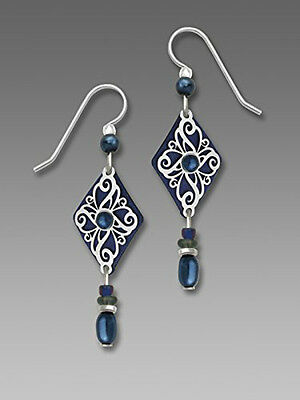 Blue Diamond Dangle Earrings - Adajio Navy BLUE Diamond Shaped EARRINGS Sterling Silver Dangle + Wrapped Boxed