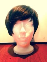 Dark brown pixie synthetic wig