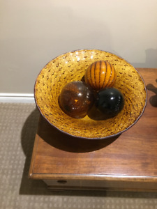 Beautiful glass bowl accent piece with decorative balls