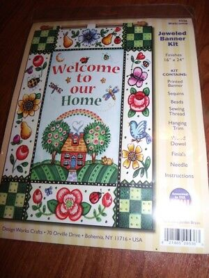 """Design Works Felt Jewel Kit Garden WELCOME to Our Home BANNER 16"""" x 24"""""""