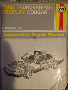 Haynes Manual for 1983 -1988 Ford Thunderbird and Mercury Cougar