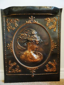 ART NOUVEAU antique COPPER fireplace screen SUMMER COVER  goddes