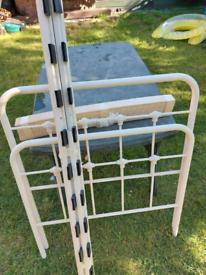 Single cream metal bed frame