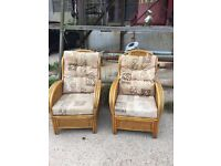 2 wicker chairs with cushions front room conservatory outhouse