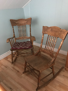 Two antique pressback rocking chairs