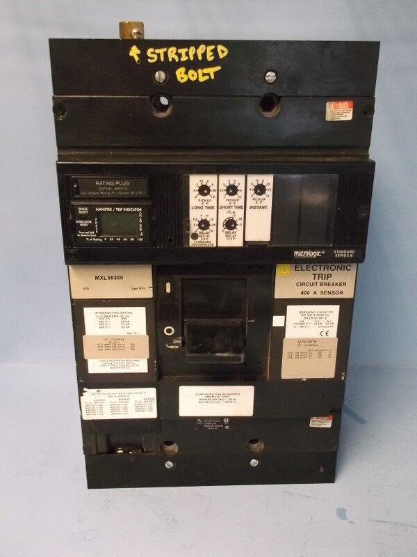 SQUARE D 3-POLE CIRCUIT BREAKER 400A SENSOR MXL36300 / ARP075  STRIPPED BOLTS
