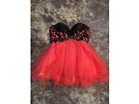 Orange/ black lace up prom dress