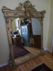 Huge Antique Console Mirror,Ornate Solid Pine Frame 5 by 7 feet