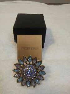 Heidi Daus blue & amethyst crystal sunflower ring size 7
