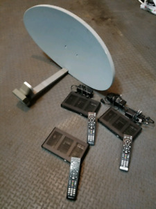 Satellite dish and 3 cable boxes