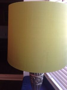 Silk lamp shade distressed silver table accent light green pink West Island Greater Montréal image 4