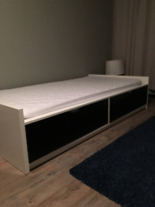 Ikea bed frame with storage and mattress