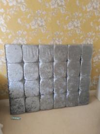 Double headboard silver grey velvet