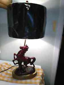 Vintage ceramic horse table lamp