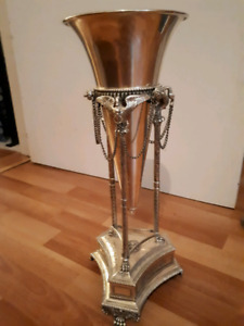Continental Silverplated Footed Trumpet Vase