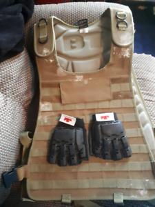 Paintball vest and gloves 15 bucks