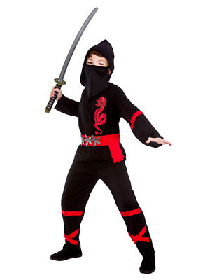 Samurai Kids Kostüme (Boys Ninja Japanese Samurai Warrior Child Kids Fancy Dress Costume Size 11/13 E9)