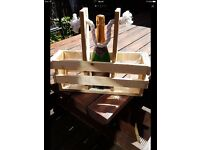 Handmade rustic wine caddy - add a bit of fun while enjoying the garden