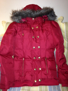 Women's Juicy Couture Down Winter Coat with faux fur hood