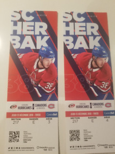 Hurricanes Caroline VS Canadiens  13 decembre  2 billets