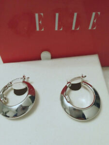 NEW SIlver 925 Authentic ELLE Earrings with Red Ruby Detail