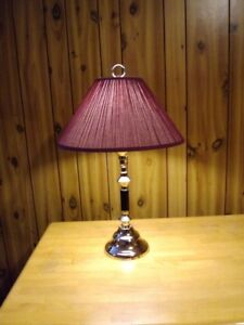 SWING ARM TABLE LAMP WITH MAROON SHADE