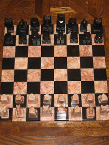 Marble Onyx Mexican Aztec Chess Set