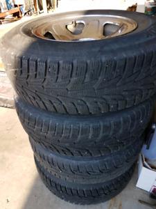 Set of 4 - 215x75x15 winter tires & rims