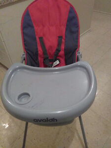Red and gray high chair avalon