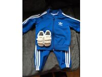 Adidas jogging suit and superstar adidas trainers