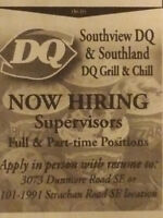 Now Hiring Supervisors, Full & Part Time Positions