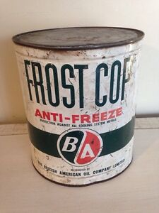 Antique BA anti-freeze frost cop tin can, gas oil advertising