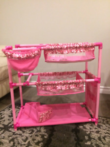 Doll twin bed and with twin high chairs