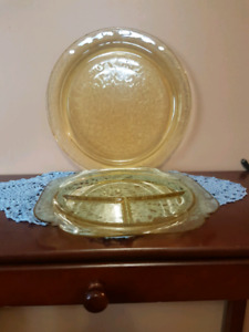 Depression Glass place settings for 8, plus extras.