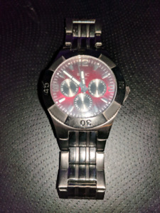 Red fossil relic watch
