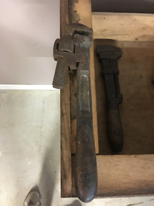 3 Antique Monkey Wrenches - Wooden Handle