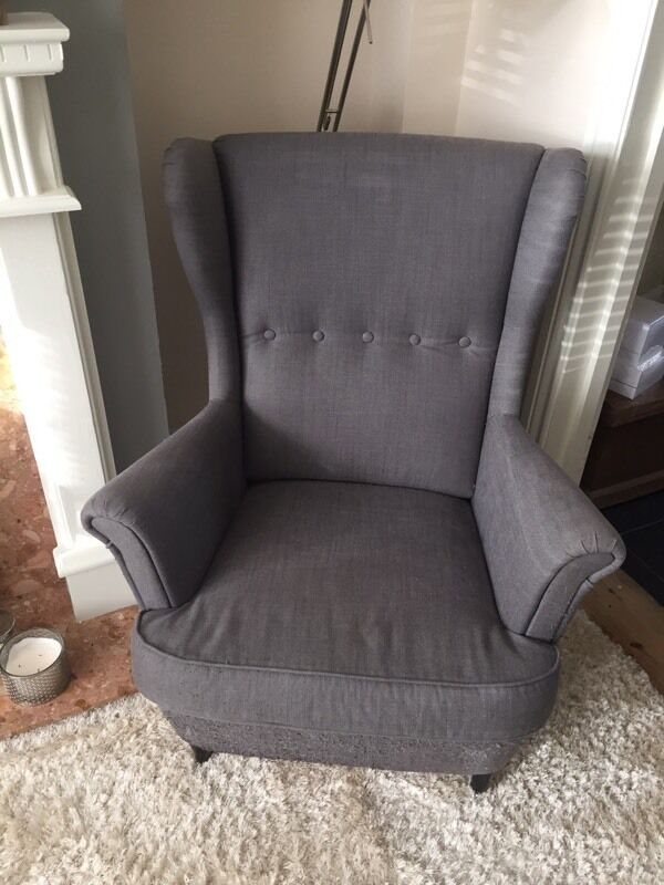 used ikea strandmon grey wingback armchair in evesham. Black Bedroom Furniture Sets. Home Design Ideas