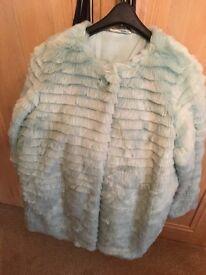 Faux fur mint jacket