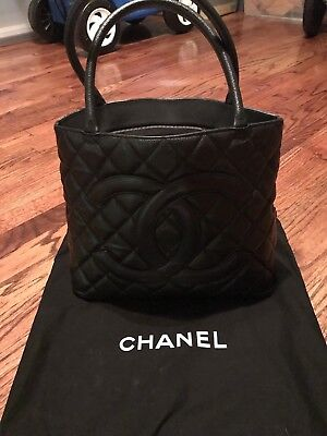 Chanel Black Quilted Caviar Leather Silver Medallion Tote Handbag for sale  Colleyville