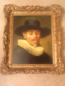 """Antique painting signed """"Lundiny"""""""